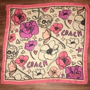 Coach scarf flowers hearts and stars